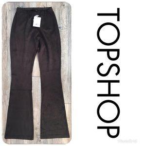 NWT TOPSHOP Faux Suede Flare Pants Sz 0 $52!